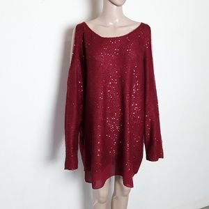 Jessica Simpson | Red Layered sequin sweater